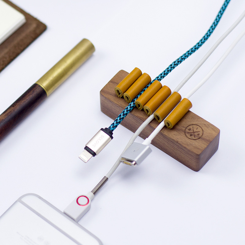 Walnut Beech Wooden Cord Holder Headphone Cable Winder Organizer Wire Holder for USB Data Line earphone cable clip