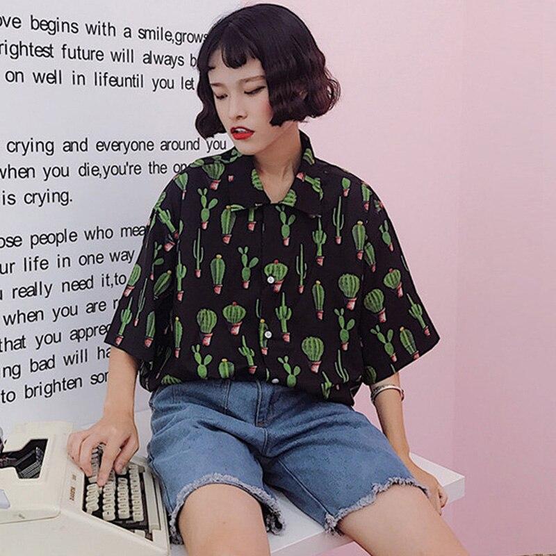 Harajuku Summer Women Blouses Cactus Print Casual Oversize Black Blouse Short Sleeve Turn Down Collar Shirt Tops Girl Streetwear