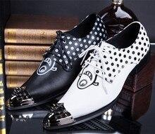 New British Fashion Hommes Hauteur Croissante Chaussures En Métal Point Toe Cuir Véritable Oxford Chaussures pour Hommes Clubwear Chaussures Noir Blanc