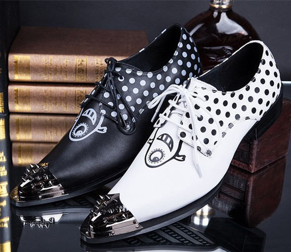 New British Fashion Mens Height Increasing Shoes Metal Point Toe Genuine Leather Oxford Shoes for Men Clubwear Shoes Black White