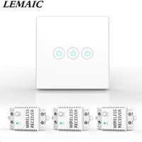 LEMAIC Wireless Lights Switch Kit 3CH 433MHz RF Remote Control Light Switch No Wiring No App