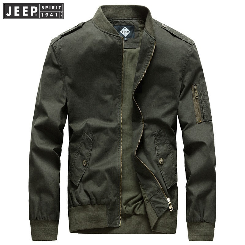 JEEP SPIRIT 2018 Autumn Spring Cargo Jackets Coat Man Stand Collar Cotton Clothes Epaulet Long Sleeve Solid Color Fashion Jacket