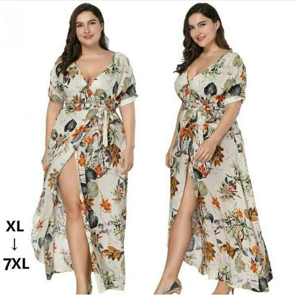 Clobee 2018 Boho Women Summer Beach Dress V Neck Batwing Sleeve Print Long  Maxi Dress Plus Size 6XL 7XL Vestido largos de verano-in Dresses from  Women s ... e170ad05d791