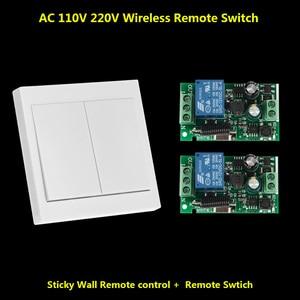433 МГц переключатель дистанционного управления настенная панель настенный передатчик и радиочастотный приемник для AC 110V 220V потолочный све...