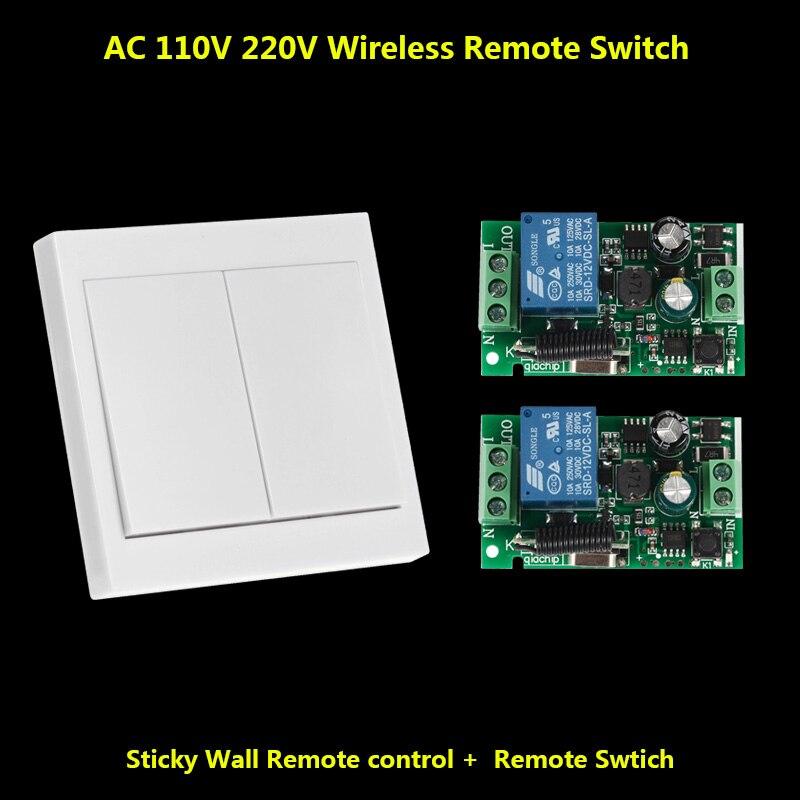 433 Mhz Télécommande Commutateur Panneau Mural Mur Émetteur et Récepteur RF pour AC 110 V 220 V Plafond Lampe lumière Sans Fil Contrôleur