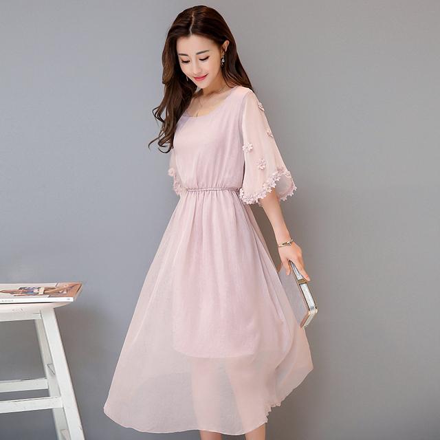 LINPEIHAN Fashion 2017 Women Summer Dress casual vintage Dress short- sleeves pink green chiffon Dress Elegant dresses