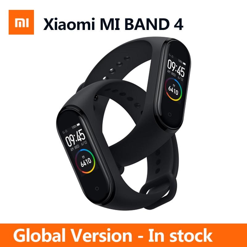 En Stock Xiao mi bande 4 bande intelligente Tracker de Fitness fréquence cardiaque 135 mAh couleur écran tactile Sport Bracelet montre intelligente-in Bracelets connectés from Electronique    1