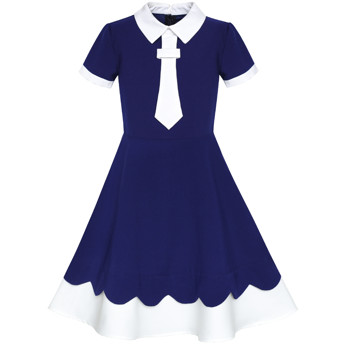 Girls Dress Back School Uniform Navy Blue White Collar Tie Short Sleeve 2019 Summer Princess Wedding Party Dresses ClothesGirls Dress Back School Uniform Navy Blue White Collar Tie Short Sleeve 2019 Summer Princess Wedding Party Dresses Clothes