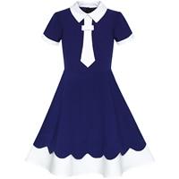 Girls Dress Back School Uniform Navy Blue White Collar Tie Short Sleeve 2019 Summer Princess Wedding Party Dresses Clothes