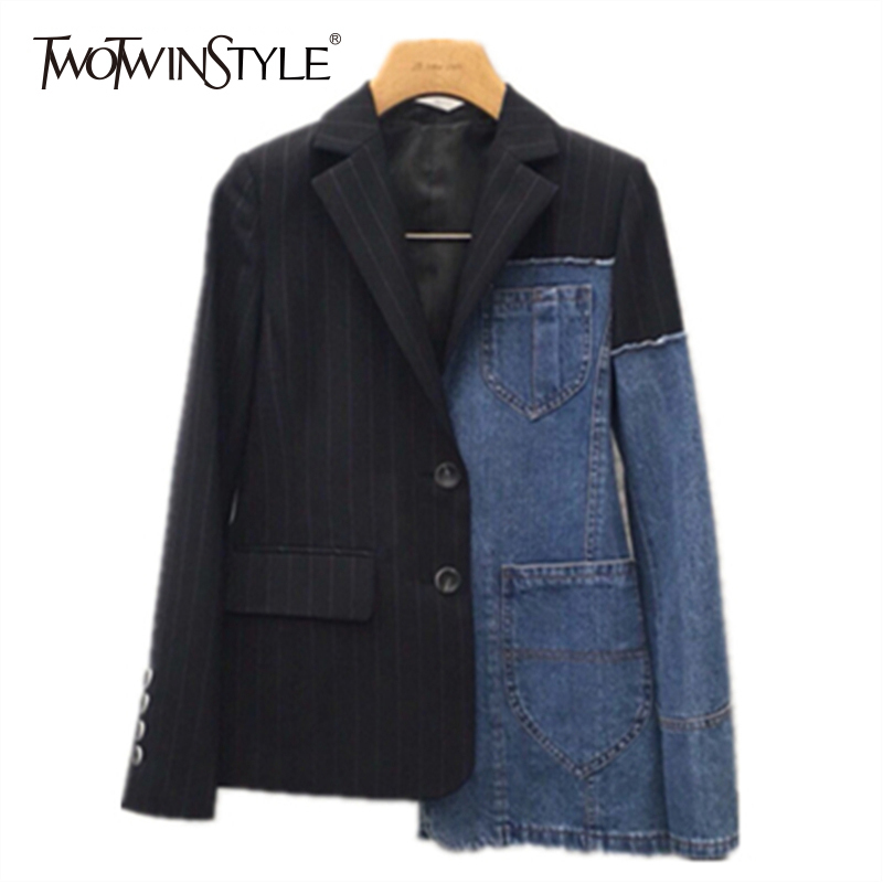 TWOTWINSTYLE patchwork blazer women denim lapel collar plus size asymmetrical coat female spring fashion clothing