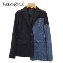 Denim asymmetrical blazer