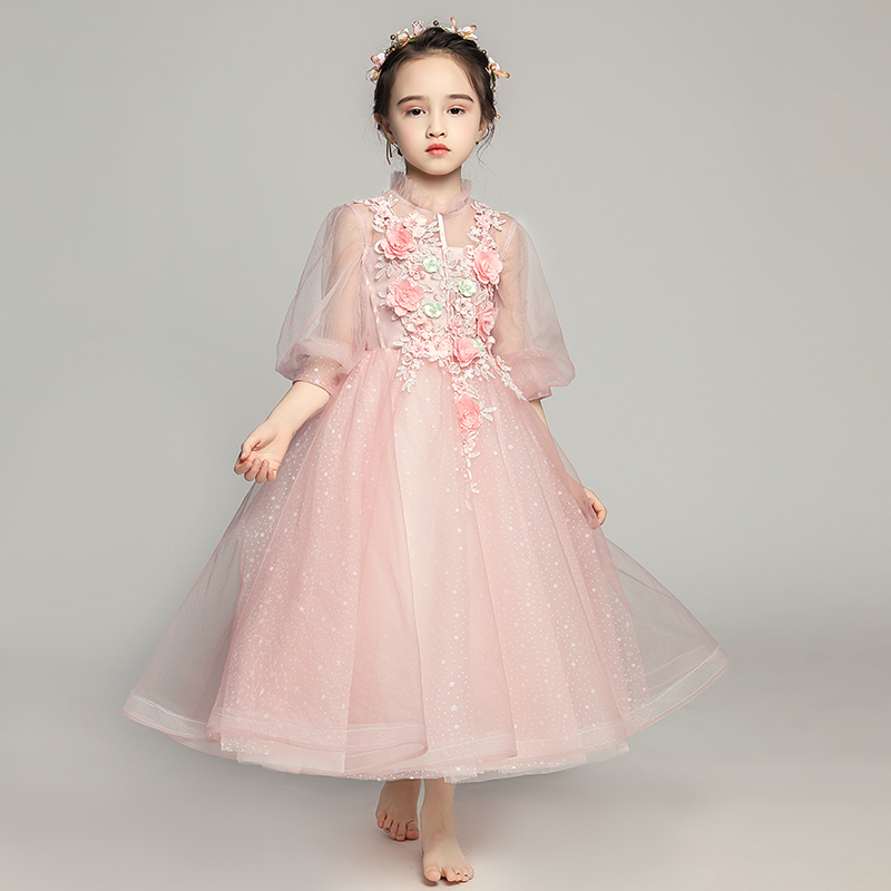 Cute Puff Sleeve   Flower     Girl     Dresses   Beads Children Evening Gowns Lace Applique First Communion Prom Mesh   Dress   O-neck Pageant