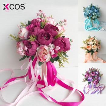 6c8671908b Ramo De novia De flores De boda romántico para novia damas De honor  caliente rosa azul púrpura champán cuatro colores ramo De Mariage