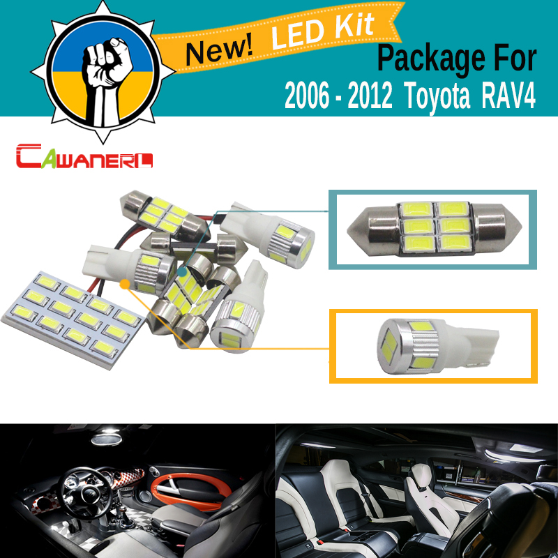 Cawanerl Car 5630 SMD LED Kit Package For Toyota RAV4 2006-2012 Auto Map Dome Courtesy Cargo light White Interior LED Bulb car 5630 smd interior map dome trunk light led bulb white led kit package for volvo 850 1991 1995 with install tools