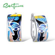 SANTUZZA Silver Earrings For Women 925 Sterling Silver Face Earrings ladies Party Fashion Jewelry Colorful Enamel Handmade