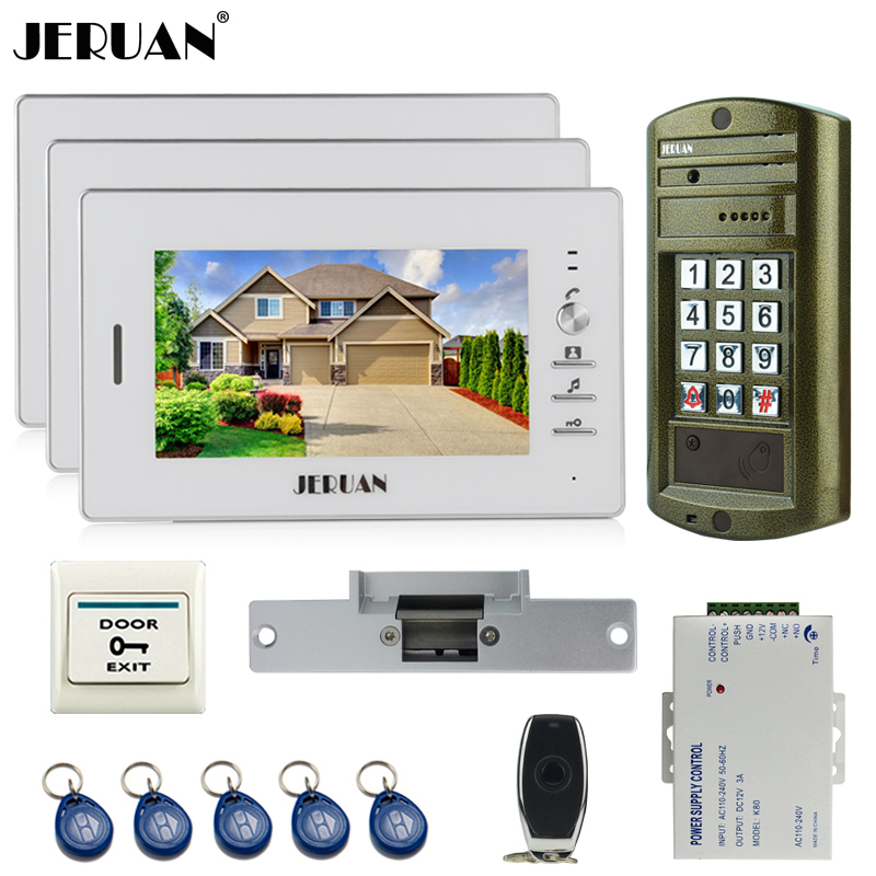 JERUAN 7 inch Video Intercom Doorbell System kit 3 White Monitor + Metal panel Waterproof Access Password keypad HD Mini Camera jeruan home 7 inch video door phone intercom system kit new metal waterproof access password keypad hd mini camera 2 monitor