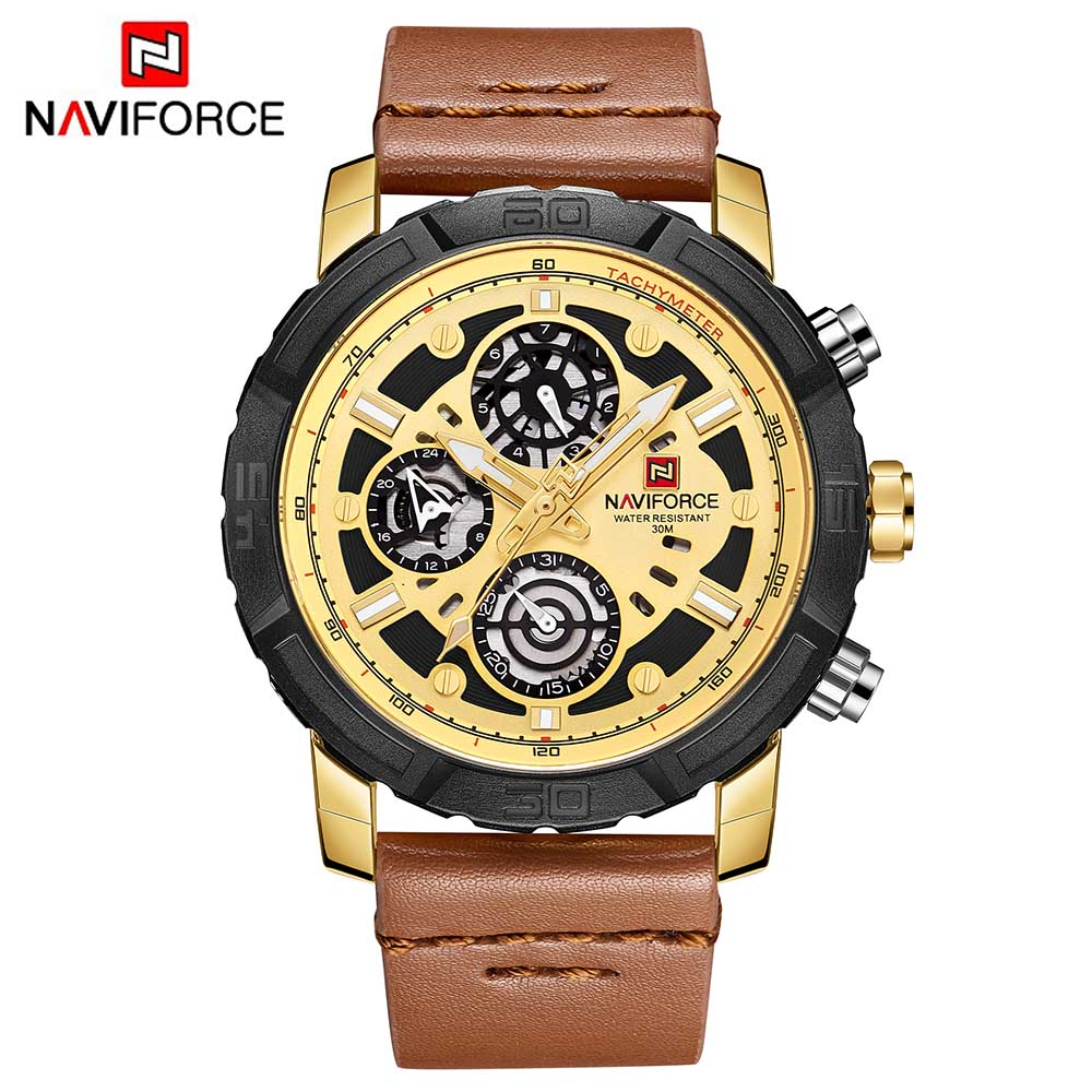 NAVIFORCE 9139 Mens Watches Top Brand Luxury 24 hour Date Analog Quartz Watch Man Leather Sport Waterproof Wrist Watch ClockMen 2017 new aimecor man leather band calendar date analog quartz waterproof wrist watch dropshipping l613