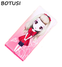 BOTUSI Cartoon Girl Wallet Female PU Leather Printing Women Wallets Long Coin Purse Card Holder Zipper Clutch High Quality цена в Москве и Питере