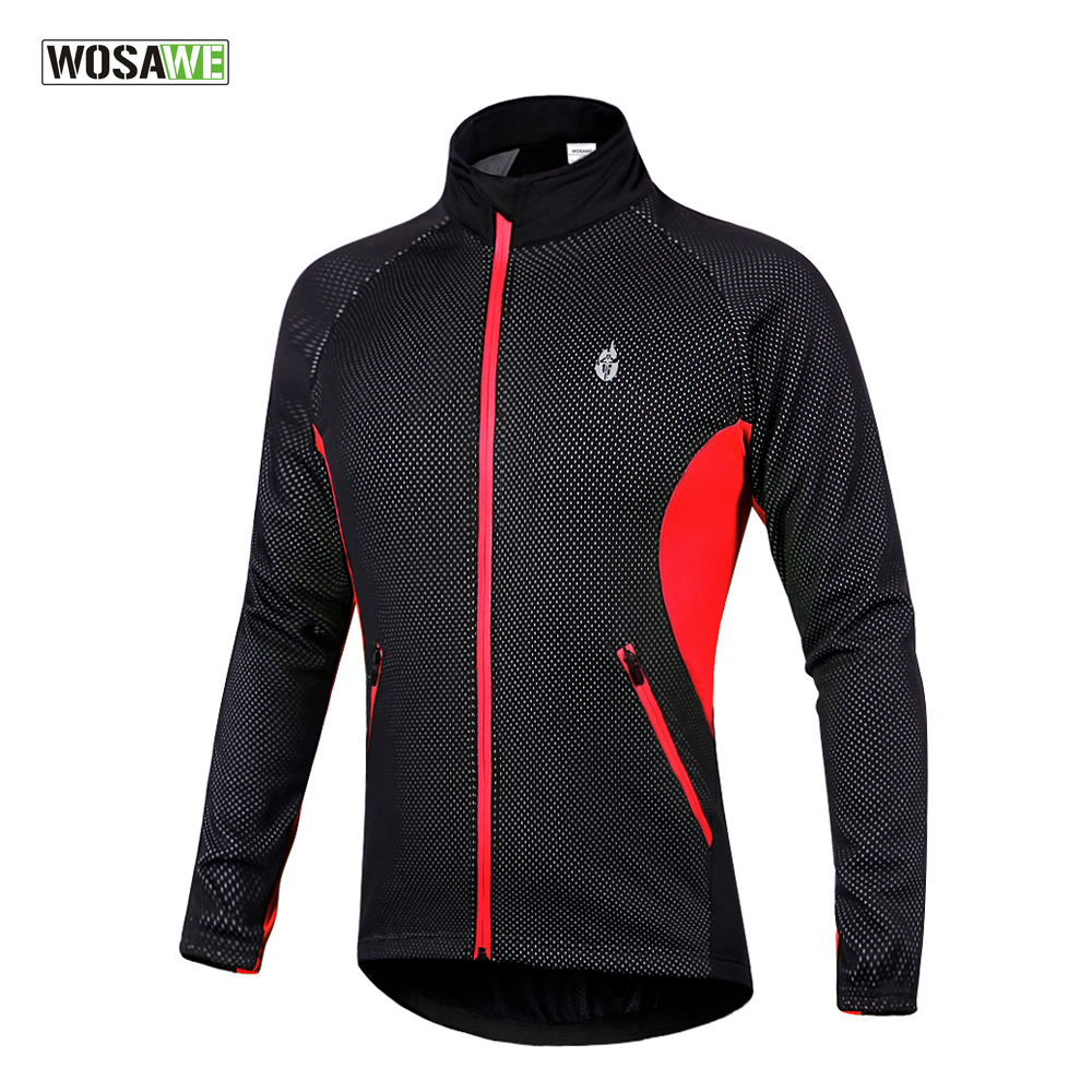WOSAWE Fleece Thermal Cycling Long Sleeve winter outdoor sport Jersey Jacket Coat Windproof In Stock Size M-XXXL  wosawe outdoor sports windproof winter long sleeve cycling jacket unisex fleece thermal mtb riding bike jersey men s coat