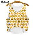 Croptop da 2016 verão novo mangas blusa Emoji roupas baratas China 3D Harajuku regata bar das mulheres colete