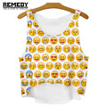 REMEDY 2016 Summer New Fashion Women Sleeveless Blouse Emoji CropTop Cheap Clothes China 3D Harajuku tanktop bar womens vest top