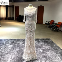 Real Custom Made Scoop Neck 3 Quarter Sleeves Trumpet Sliver Grey Evening Dresses Long 2016 High Quality