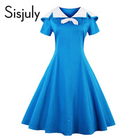 Sisjuly Vintage Dress 1950s Style Spring Blue Pin Up Short Sleeve Lapel Women Party Dress Summer