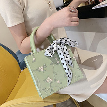 ETAILL Women Embroidered Pearl Flower Scarves Top Handle Bag Fashion Designer PU Leather Messenger Ladies Small Shoulder