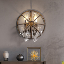 Induatrial Loft Style Iron Wall Lamp Crystal Vintage LOFT Cage Half Round Double Restaurant Bar Cafe