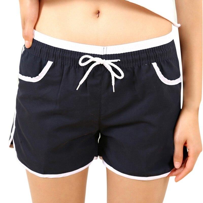 מכירת הקיץ חם מכנסיים קצרים לנשים סקיני מזדמנים שרוך כיס מכנסיים קצרים מותניים אלסטי צד פיצול ניגודיות מחייבת Femme 7 צבעים