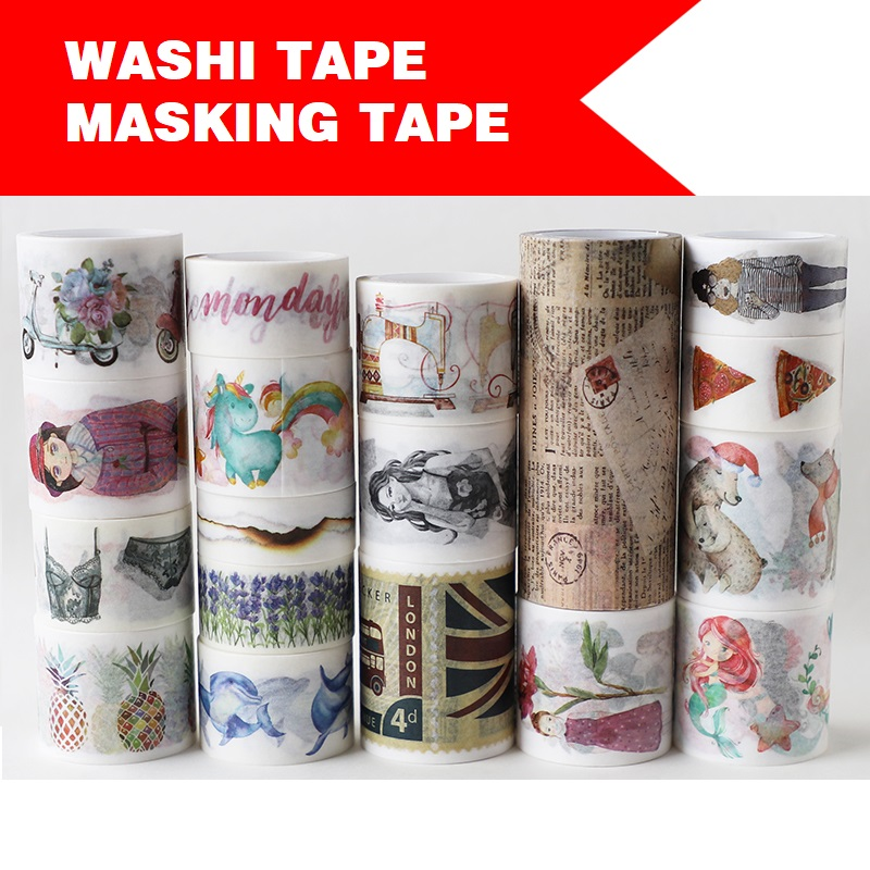 18 Designs Girls/Newspaper/Unicorn/Flowers/Week/Pizza Japanese Washi Masking Tape Decorative Adhesive DIY Paper Stickers Label