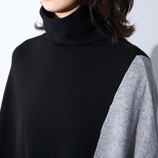 Johnature 2019 Spring Patchwork Batwing Plus Size Long Turtleneck Women Sweaters New Loose Casual Irregular Hit Color Sweaters