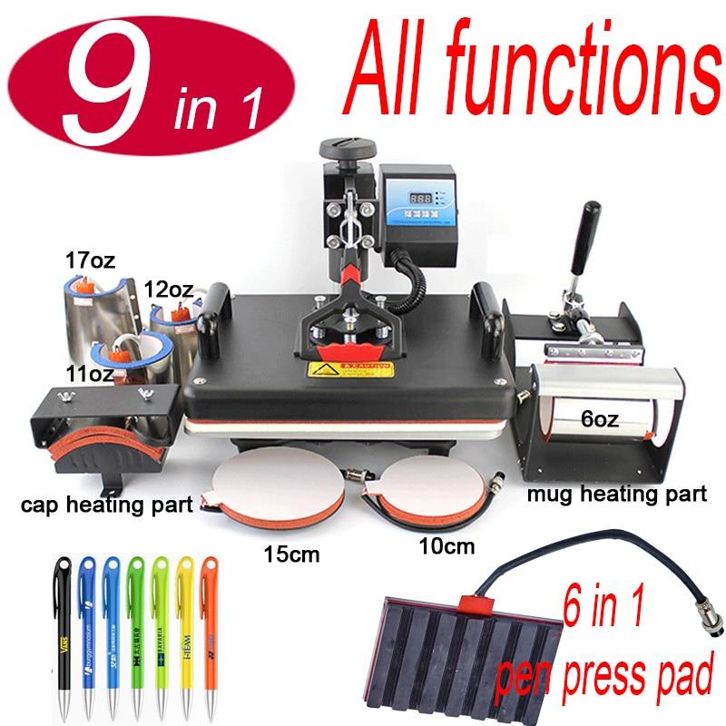 9 In 1 With Heat Pen Press Machine,Sublimation Printer/pen Transfer Machine Heat Press For Mug/Cap/T Shirt/Phone Case/bottle/pen