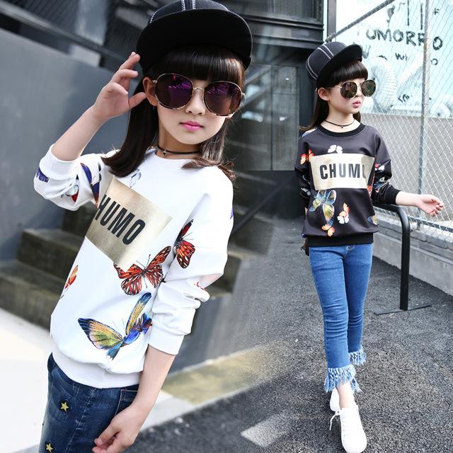 2016 nueva moda otoño muchacha de los niños tocando fondo camisa de impresión camisa de manga larga femenina de gran tamaño deportes suéter