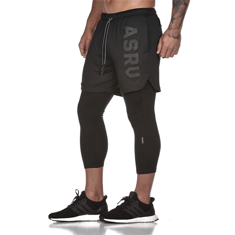 2019 New Sporting Pants Men Elastic Breathable Fake Two Piece Running Training Pants Gyms Ankle-Length Pants Plus Size XXXL