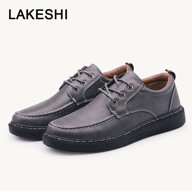 2019 Mocassins Mode Homme Black Plates Sneakers Adulte Nouveau Hommes En Chaussures Casual Lakeshi gray brown Cuir Qualité qxXvwSF