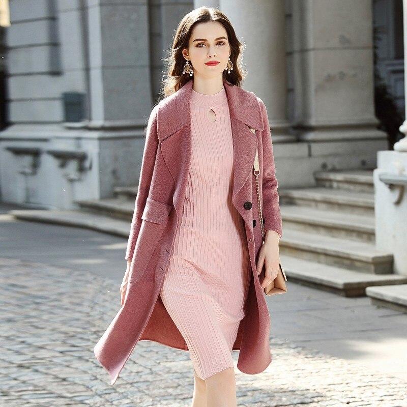 Veste De Laine Pink Rose Ol Trench Qualité Haute Manteau Pardessus apricot Baggy Longue Nouvelle Conception Britannique Mince Femme Femmes Dames wE8USqx0w