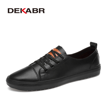 DEKABR Genuine Leather Men Shoes Lace-Up Men Casual Shoes New 2019 Fashion Breathable Male Footwear Spring Autumn Size 38-46