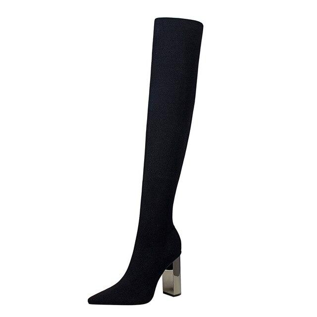 POADISFOO Mulher longas botas Na Altura Do Joelho Botas De Cano Alto Saltos Quadrados de metal pontudos de salto alto salto alto sexy botas de lã fina. DS-3128-1