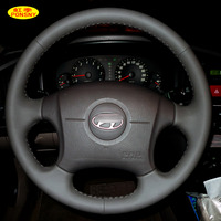 PONSNY Car Steering Wheel Covers Case for HYUNDAI ELANTRA Car styling Auto Hand stitched Cover Genuine Leather