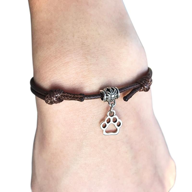 2020 New Double Dog Paw Pendant Red Thread String Bracelet Lucky Black Coffee Handmade Rope Bracelet for Women Men Jewelry