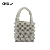 Women Vintage Top handle Purse Fashion Female Evening Handmade Pearl Bag Lady Luxury Design Beaded INS Popular Chic Tote SS0409