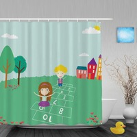 Cartoon Cute Elements Kids Shower Curtain Boys Girls Playing Games Bathroom Curtains Waterproof Polyester Fabric With