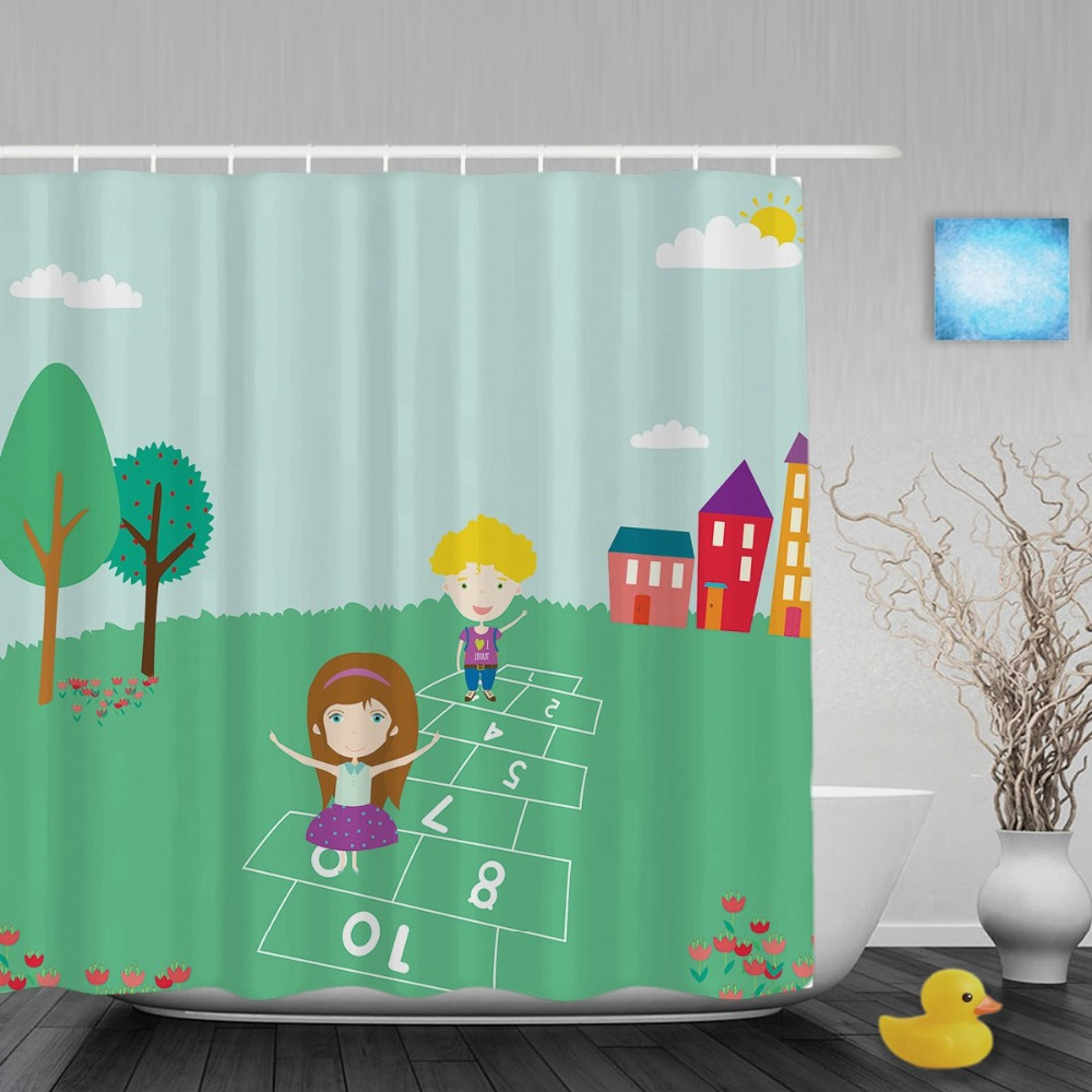 Cartoon Cute Elements Kids Shower Curtain Boys Girls Playing Games Bathroom Curtains Waterproof Polyester Fabric With Hooks In From Home