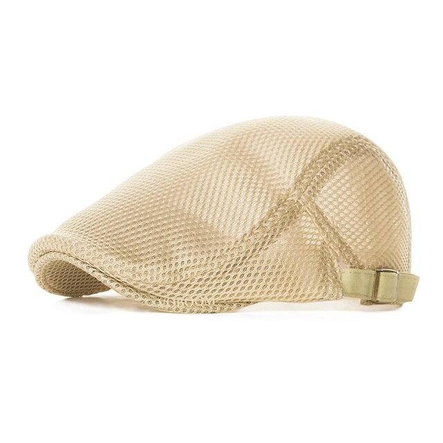 f76986b5aff Summer Men Women Khaki Casual Beret Hat Ivy Flat Cap Cabbie Newsboy Style Gatsby  Hat Adjustable Breathable Boina Mesh Caps 124