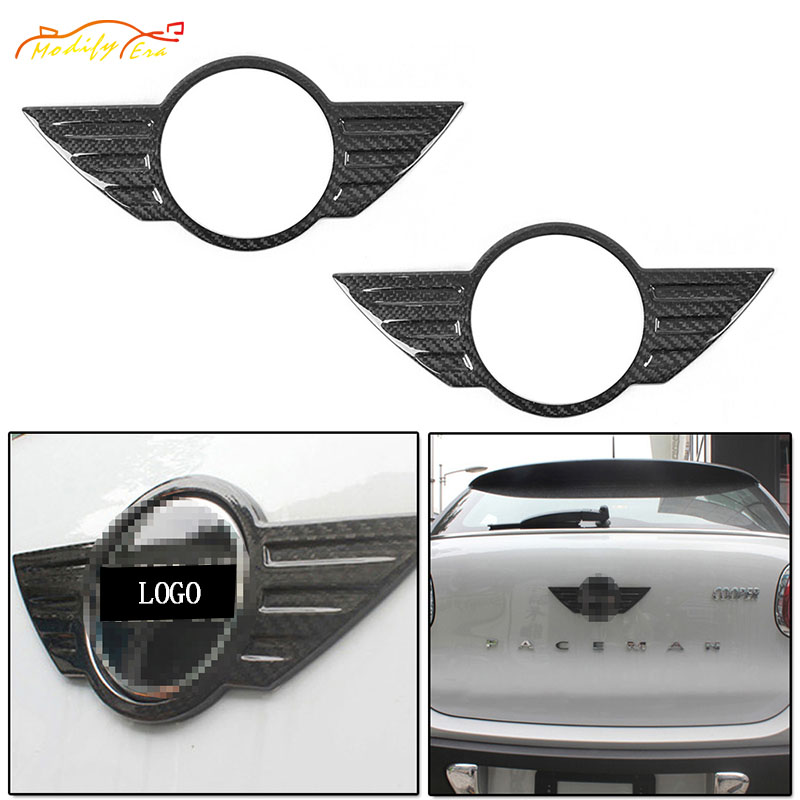 1Set/2Pcs Carbon Fiber Lid Trunk Hood Wings Badge Covers For BMW Mini Cooper R61 Paceman car styling car Accessories