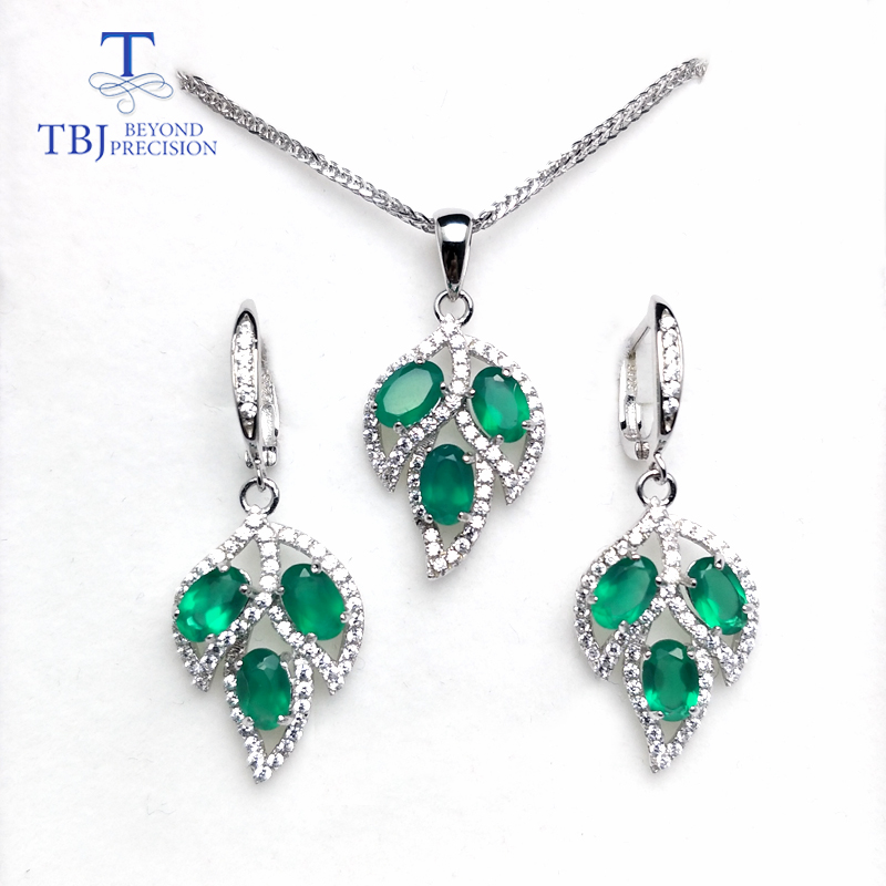 TBJ,Tree leaf jewelry set pendant clasp earring natural