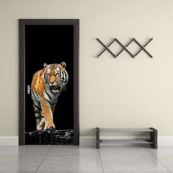 3D HD Print Tiger Poster PVC Waterproof Entire Door Sticker Creative Stickers Door Wall Sticker DIY Mural Bedroom Home Decor