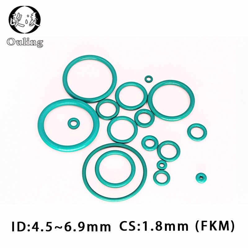 10 Uds caucho de flúor verde FKM sellar Oring 1,8mm de espesor ID4.5/4,87/5/5/15/5, 6/6/6, 3/6, 7/6, 9mm-Anillo de sello de aceite de la junta de la lavadora