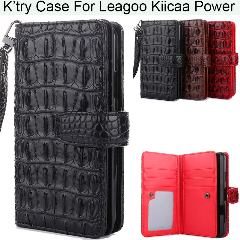 K'try Alligator Crocodile Skin Magnetic Wallet Pu Leather Phone Case For Leagoo Kiicaa Power M8 S8 (S8 Pro)